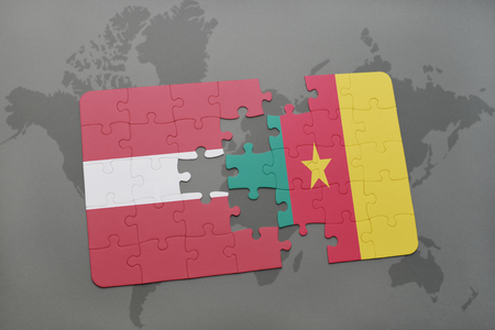 puzzle with the national flag of latvia and cameroon on a world map background. 3D illustration