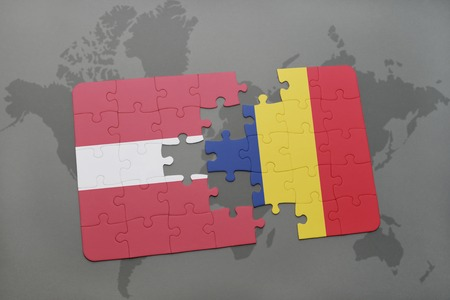 puzzle with the national flag of latvia and chad on a world map background. 3D illustration
