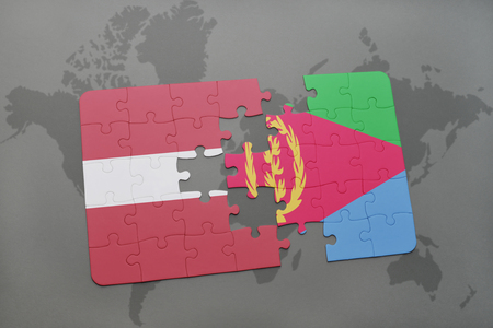 puzzle with the national flag of latvia and eritrea on a world map background. 3D illustration