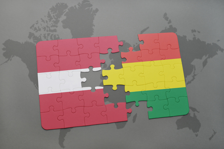 puzzle with the national flag of latvia and bolivia on a world map background. 3D illustration Banco de Imagens