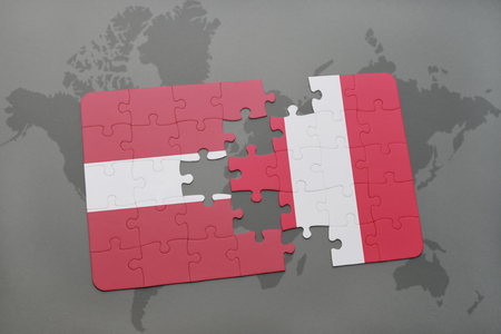 puzzle with the national flag of latvia and peru on a world map background. 3D illustration