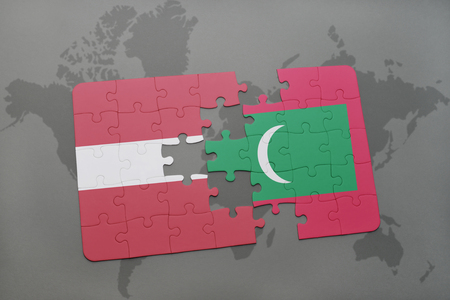 puzzle with the national flag of latvia and on a world map background. 3D illustration