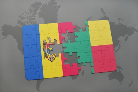 benin: puzzle with the national flag of moldova and benin on a world map background. 3D illustration Stock Photo