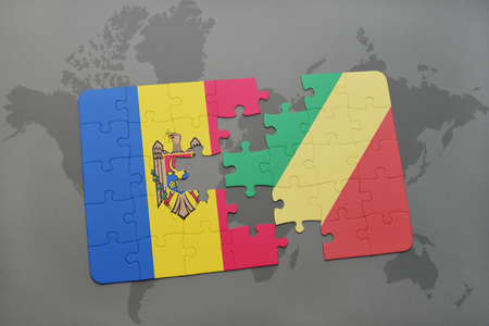puzzle with the national flag of moldova and republic of the congo on a world map background. 3D illustration Stock Photo