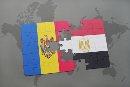 puzzle with the national flag of moldova and egypt on a world map background. 3D illustration