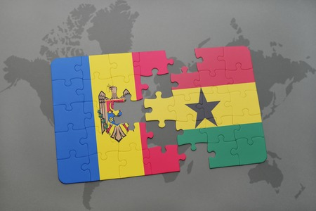 puzzle with the national flag of moldova and ghana on a world map background. 3D illustration Stock Photo
