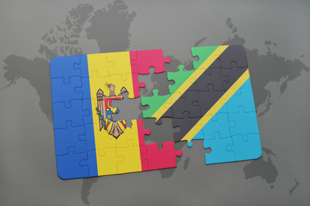 puzzle with the national flag of moldova and tanzania on a world map background. 3D illustration
