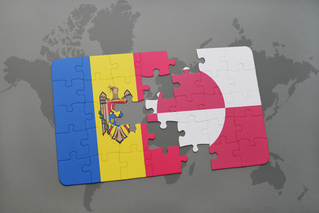 puzzle with the national flag of moldova and greenland on a world map background. 3D illustration