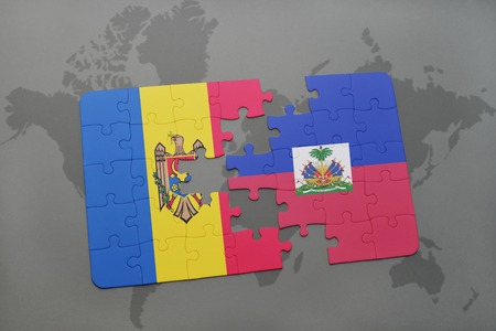 puzzle with the national flag of moldova and haiti on a world map background. 3D illustration