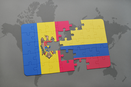 puzzle with the national flag of moldova and colombia on a world map background. 3D illustration