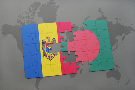 puzzle with the national flag of moldova and bangladesh on a world map background. 3D illustration