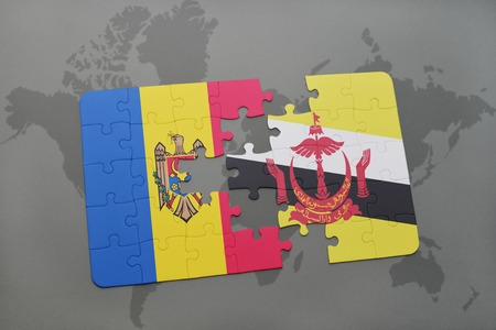 puzzle with the national flag of moldova and brunei on a world map background. 3D illustration