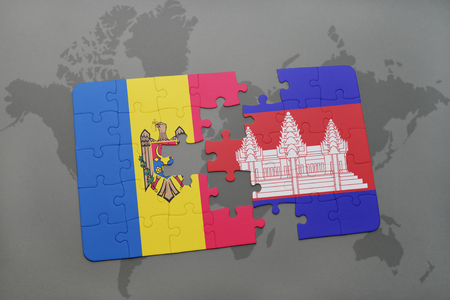 puzzle with the national flag of moldova and cambodia on a world map background. 3D illustration