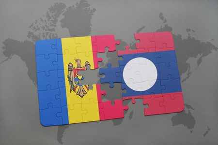 puzzle with the national flag of moldova and laos on a world map background. 3D illustration Stock Illustration - 76325401