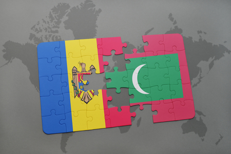 puzzle with the national flag of moldova and maldives on a world map background. 3D illustration Stock Photo