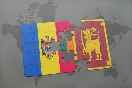 puzzle with the national flag of moldova and sri lanka on a world map background. 3D illustration