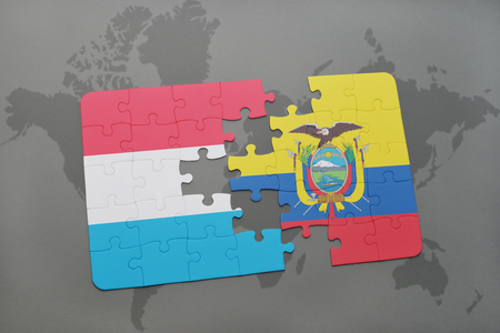 puzzle with the national flag of luxembourg and ecuador on a world map background. 3D illustration Фото со стока