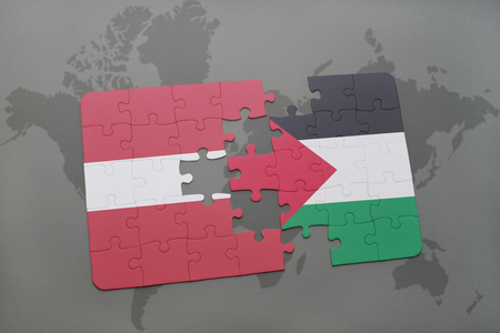 puzzle with the national flag of latvia and palestine on a world map background. 3D illustration