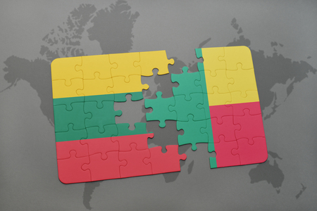 benin: puzzle with the national flag of lithuania and benin on a world map background. 3D illustration Stock Photo