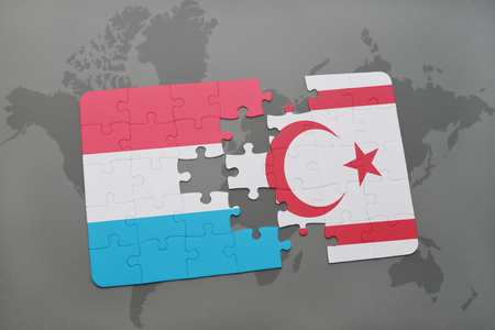 puzzle with the national flag of luxembourg and northern cyprus on a world map background. 3D illustration