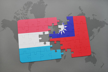 puzzle with the national flag of luxembourg and taiwan on a world map background. 3D illustration
