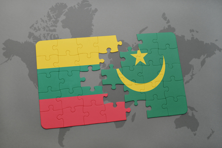 mauritania: puzzle with the national flag of lithuania and mauritania on a world map background. 3D illustration