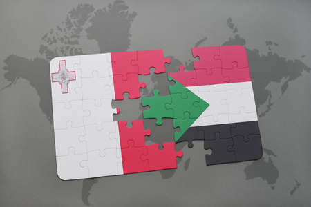 puzzle with the national flag of malta and sudan on a world map background. 3D illustration