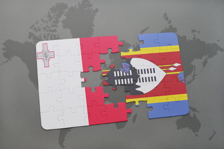 puzzle with the national flag of malta and swaziland on a world map background. 3D illustration