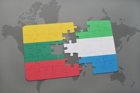 puzzle with the national flag of lithuania and sierra leone on a world map background. 3D illustration