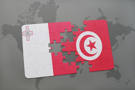 puzzle with the national flag of malta and tunisia on a world map background. 3D illustration