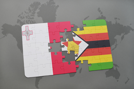 puzzle with the national flag of malta and zimbabwe on a world map background. 3D illustration