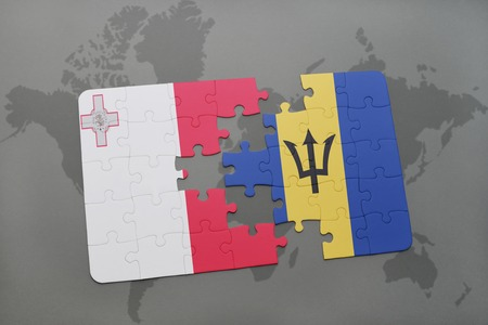 maltese map: puzzle with the national flag of malta and barbados on a world map background. 3D illustration Stock Photo