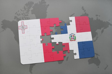 maltese map: puzzle with the national flag of malta and dominican republic on a world map background. 3D illustration