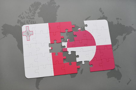 danish flag: puzzle with the national flag of malta and greenland on a world map background. 3D illustration Stock Photo