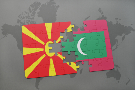 puzzle with the national flag of macedonia and maldives on a world map background. 3D illustration Stock Photo