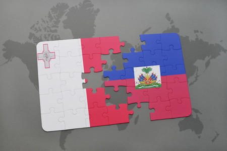 puzzle with the national flag of malta and haiti on a world map background. 3D illustration Stock Photo