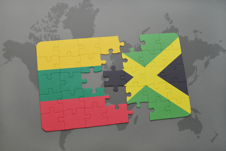 kingston: puzzle with the national flag of lithuania and jamaica on a world map background. 3D illustration