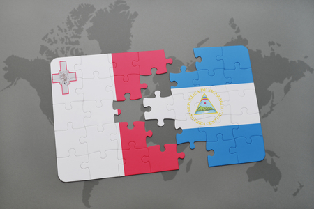 puzzle with the national flag of malta and nicaragua on a world map background. 3D illustration Stock Photo