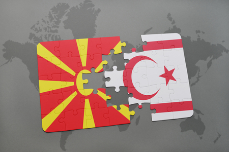 puzzle with the national flag of macedonia and northern cyprus on a world map background. 3D illustration