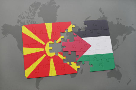 puzzle with the national flag of macedonia and palestine on a world map background. 3D illustration