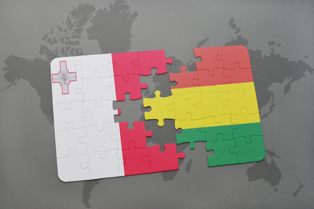 puzzle with the national flag of malta and bolivia on a world map background. 3D illustration Stock Photo