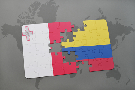 maltese map: puzzle with the national flag of malta and colombia on a world map background. 3D illustration Stock Photo