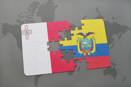 maltese map: puzzle with the national flag of malta and ecuador on a world map background. 3D illustration Stock Photo