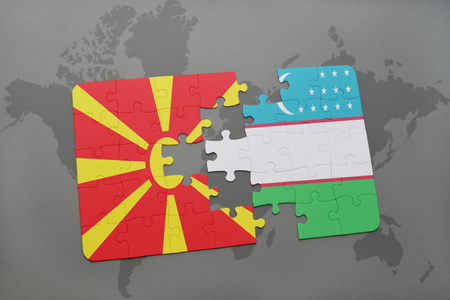 puzzle with the national flag of macedonia and uzbekistan on a world map background. 3D illustration