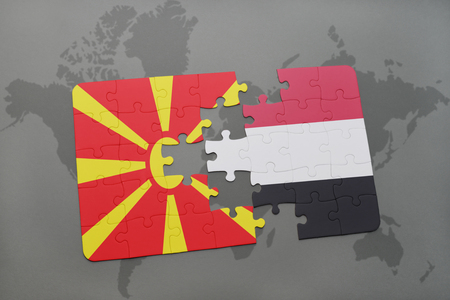 puzzle with the national flag of macedonia and yemen on a world map background. 3D illustration Stock Photo