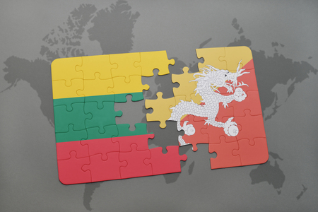 bhutan: puzzle with the national flag of lithuania and bhutan on a world map background. 3D illustration