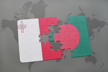 maltese map: puzzle with the national flag of malta and bangladesh on a world map background. 3D illustration