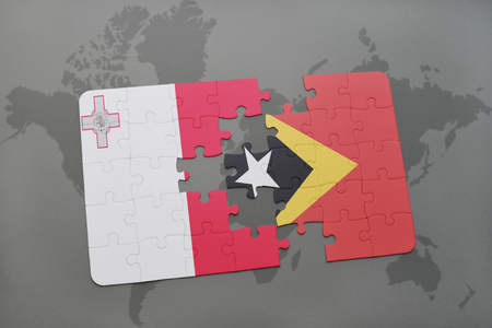maltese map: puzzle with the national flag of malta and east timor on a world map background. 3D illustration