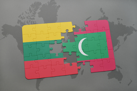 puzzle with the national flag of lithuania and maldives on a world map background. 3D illustration Фото со стока