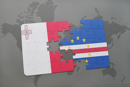 puzzle with the national flag of malta and cape verde on a world map background. 3D illustration
